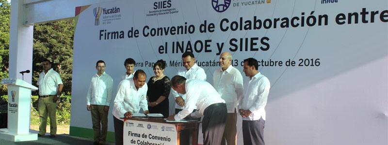 Firma INAOE convenios de colaboración con Yucatán